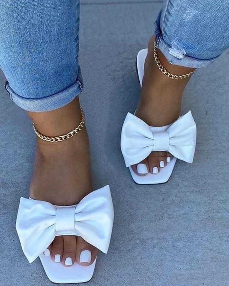 Bowknot Open Toe Flat Sandals thumbnail