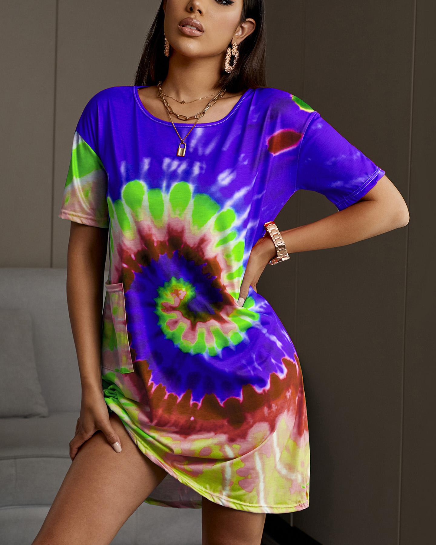 Colorful Tie Dye Print Casual Dress thumbnail