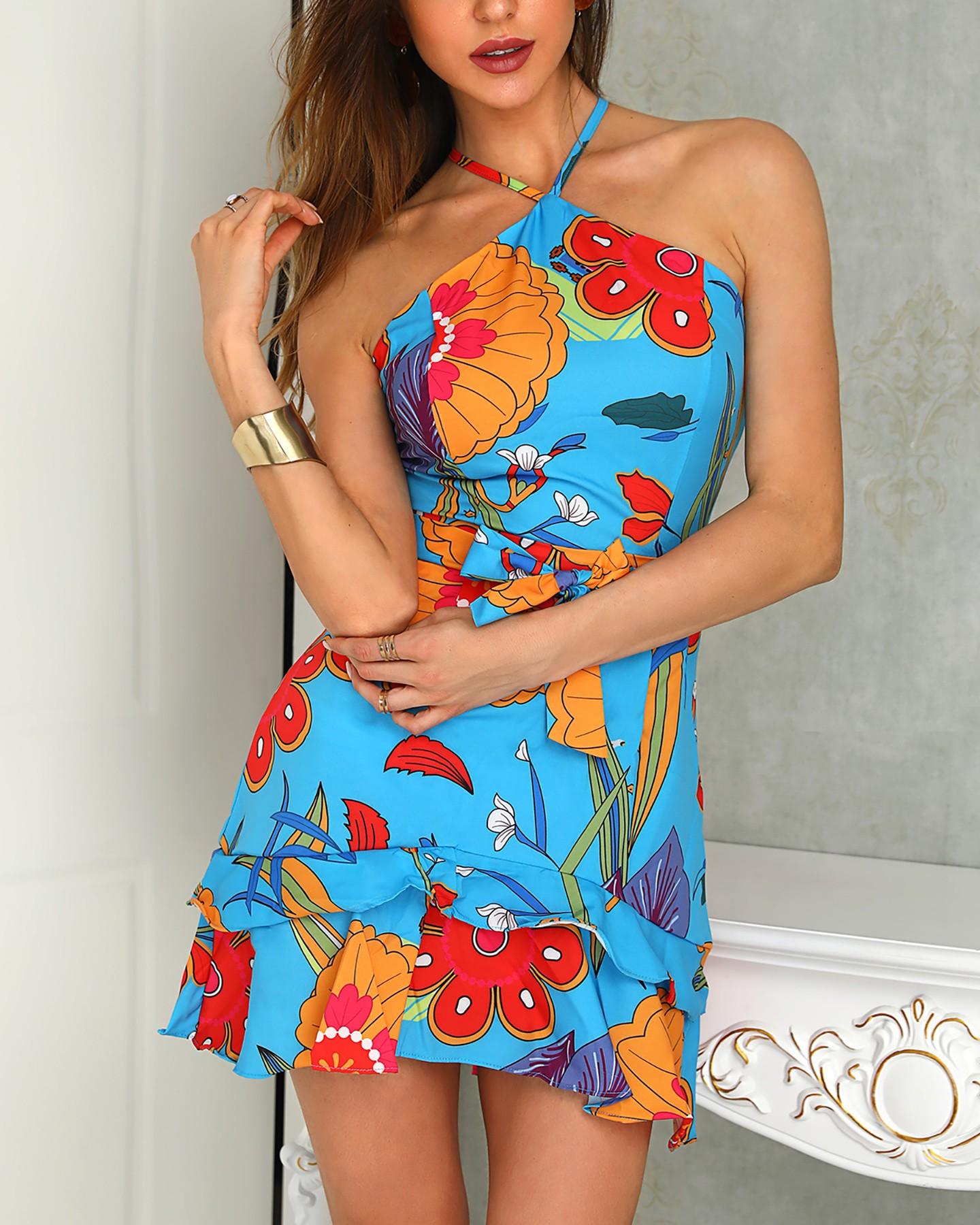 Botanical Print Halter Ruffles Casual Dress