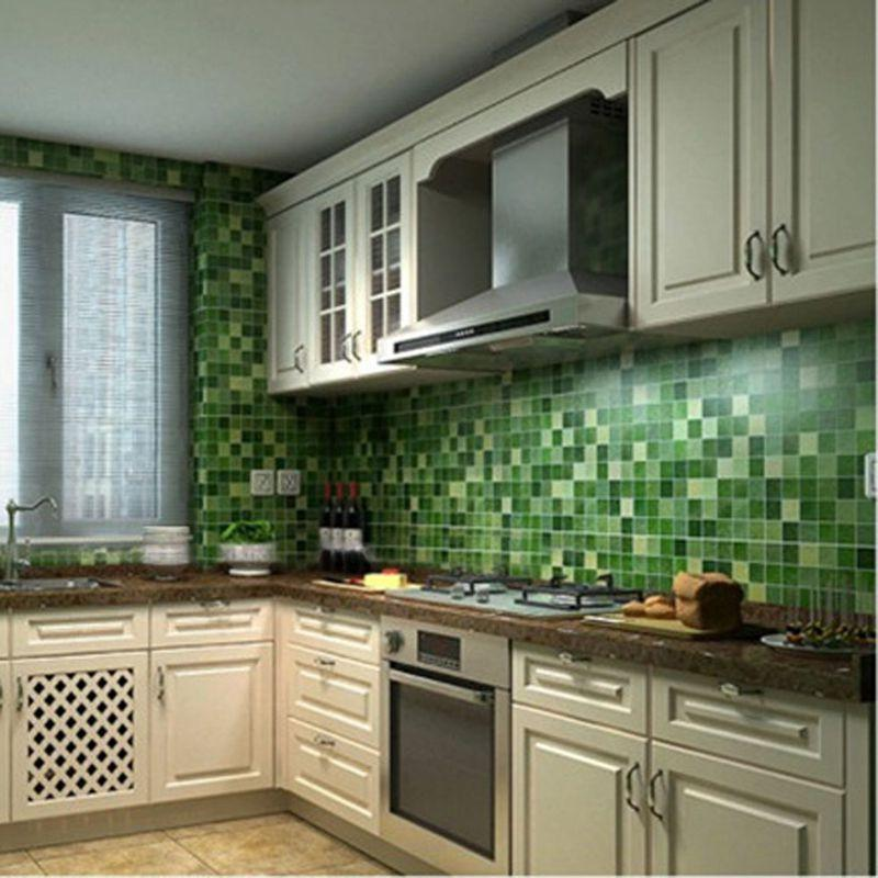 45x200cm Mosaic Aluminum Foil Self-adhensive Anti Oil Wall Paper Sticker Kitchen thumbnail