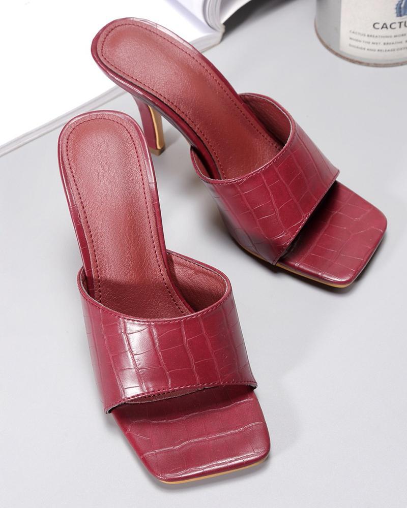 Peep Toe Checked Pattern Heeled Sandals thumbnail