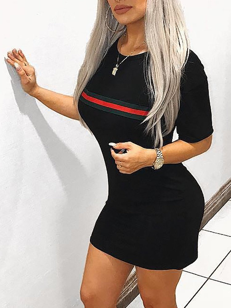 Contrast Color Striped Sexy Bodycon Dress