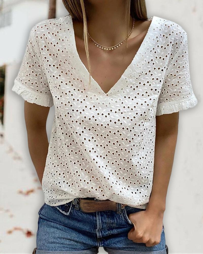Eyelet Embroidery Backless Tied Detail T-shirt thumbnail