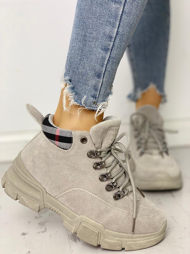 boutiquefeel / Plaid Splicing Lace-Up Martin Ankle Boots