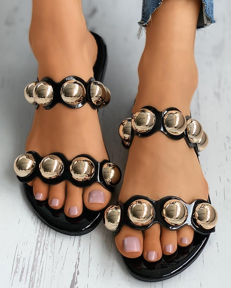 Open Toe Beaded Flat Slider Sandals thumbnail