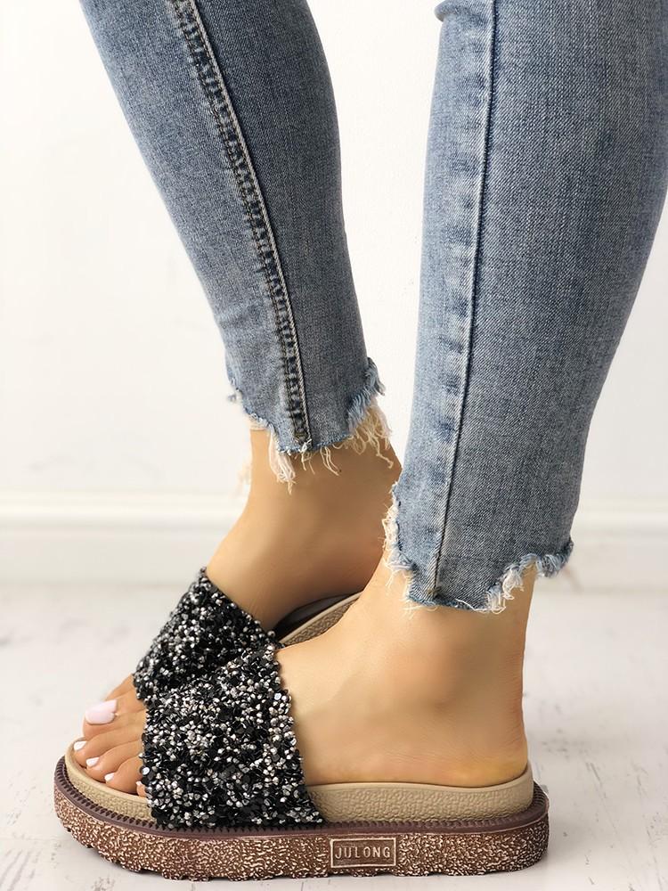 boutiquefeel / Shiny Sequins Embellished Open Toe Sandals