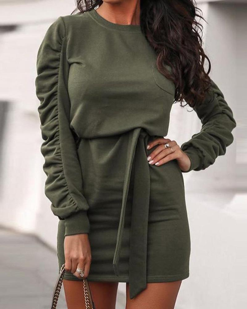 Ruched Sleeve Solid Knitted Bodycon Dress thumbnail