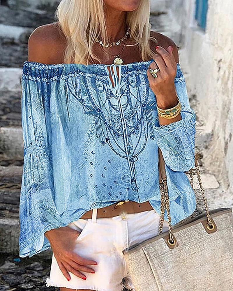 All Over Print Lace Up Bell Sleeve Off Shoulder Top, Blue