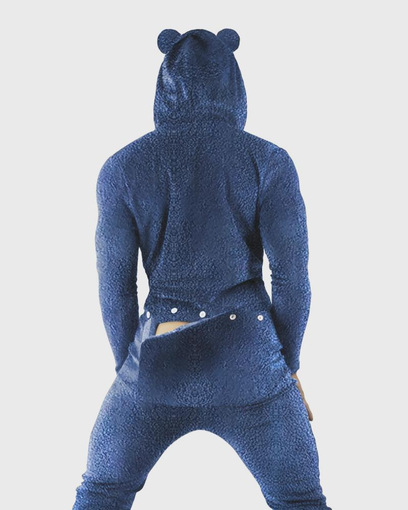 Solid Color Long Sleeve Bear Hooded Jumpsuit, Blue