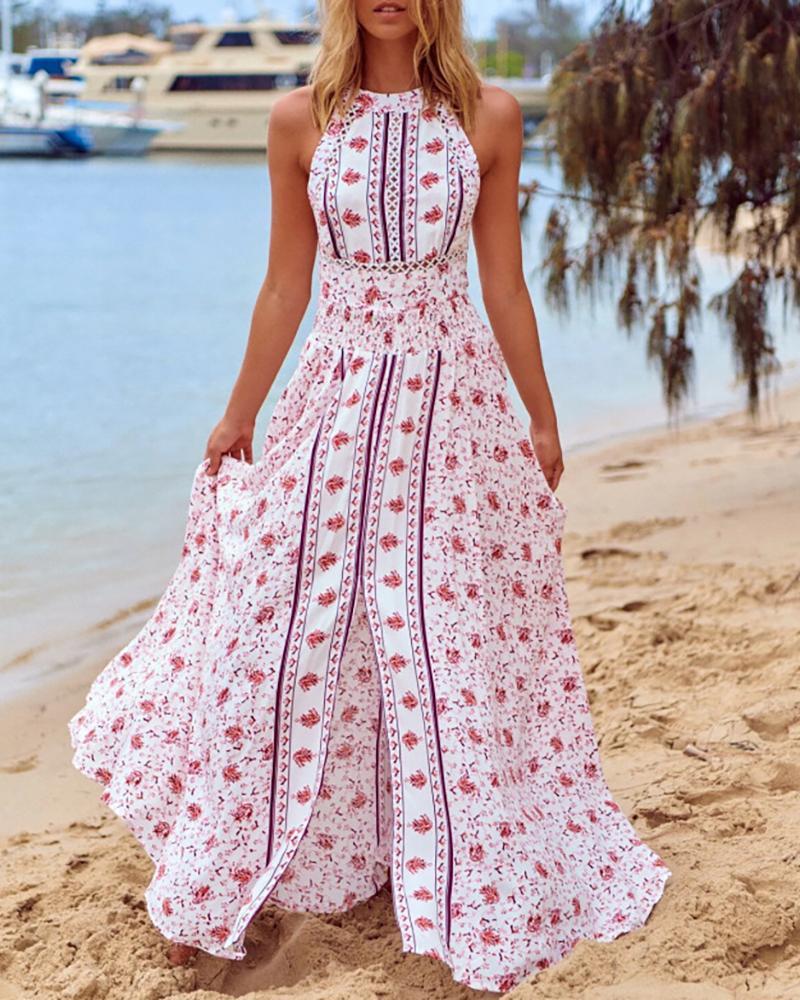 Floral Print Sleeveless High Sllit Maxi Dress thumbnail