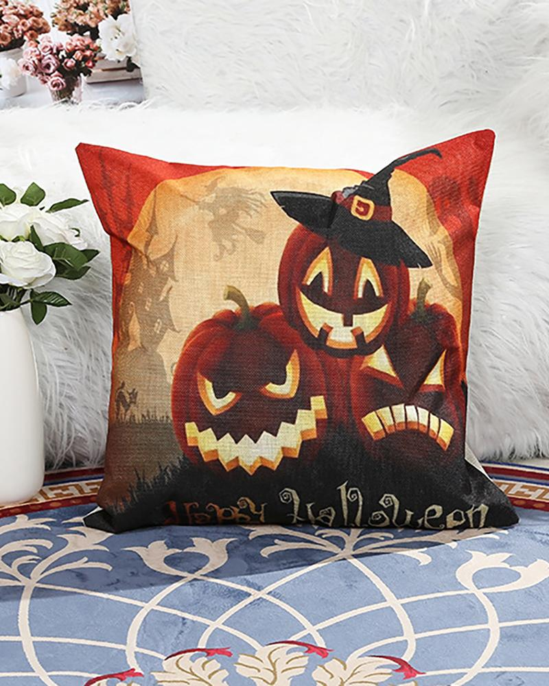 Halloween Pumpkin Letter Print Cushion Cover Without Filler thumbnail