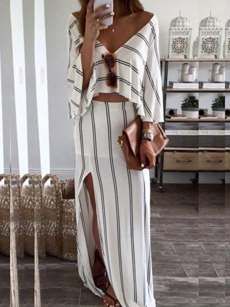 Women Sexy V Neck Striped Side Split Set