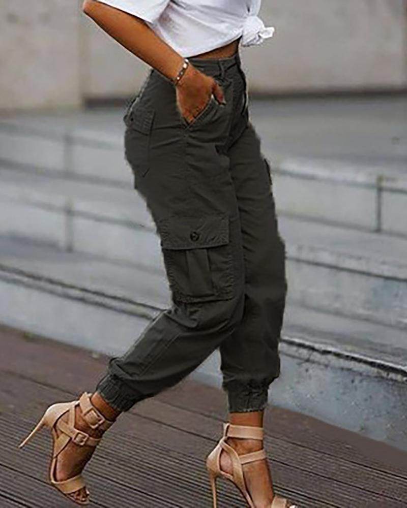 Plain Pockets Design Cargo Pants thumbnail