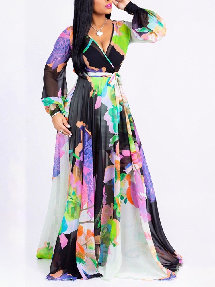 boutiquefeel / Floral Print Long Sleeve Belted Wrap Maxi Dress