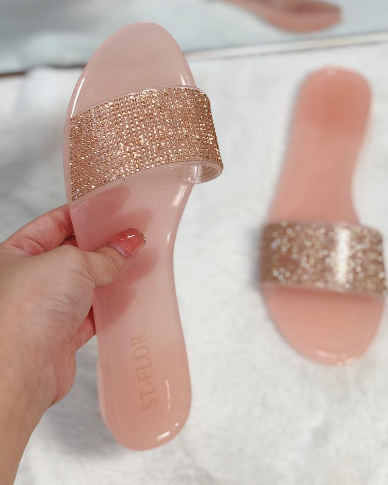 Jelly Sequins Flat Sandals thumbnail