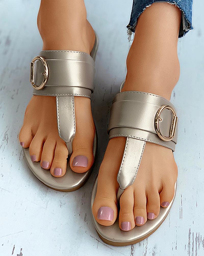 Toe Post Buckle Detail Flat Sandals thumbnail
