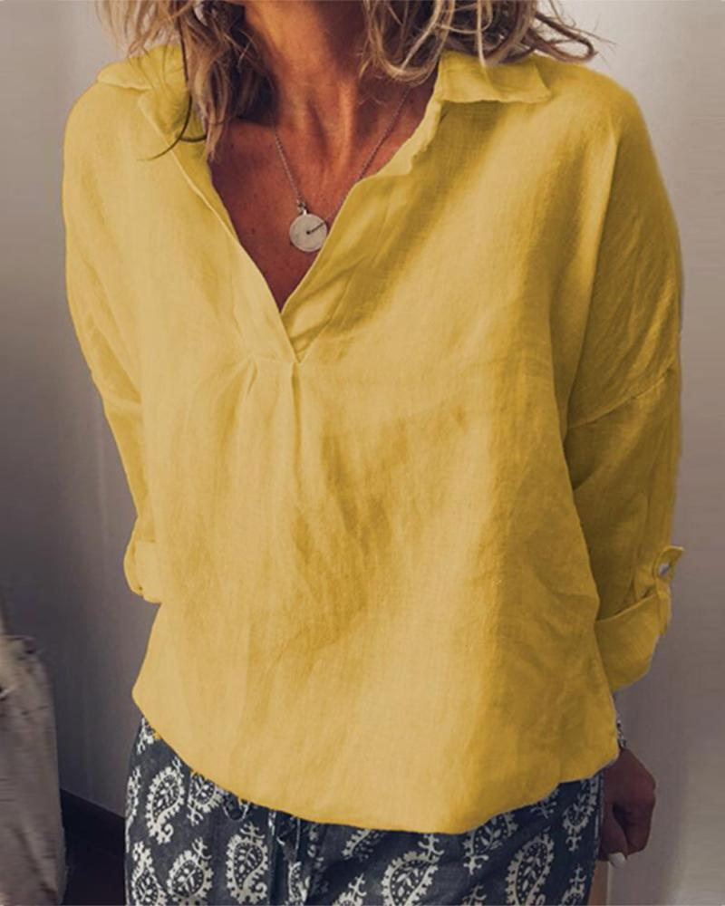 Solid color V-neck large size cotton and linen women thumbnail