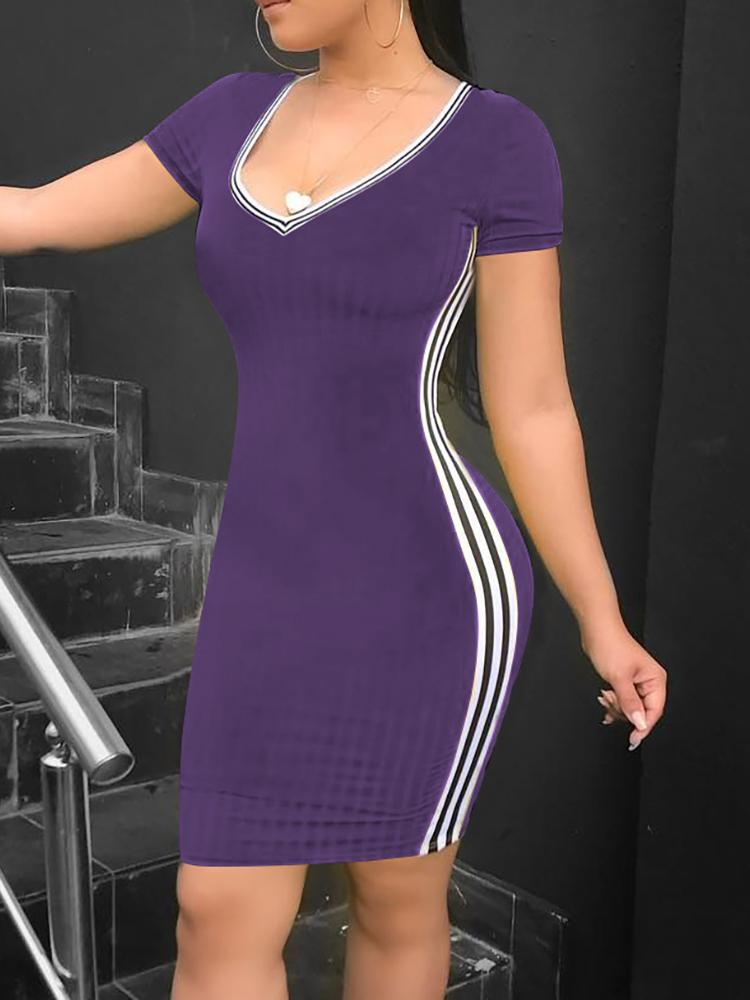 boutiquefeel / Striped Tape Side Short Sleeve Bodycon Dress