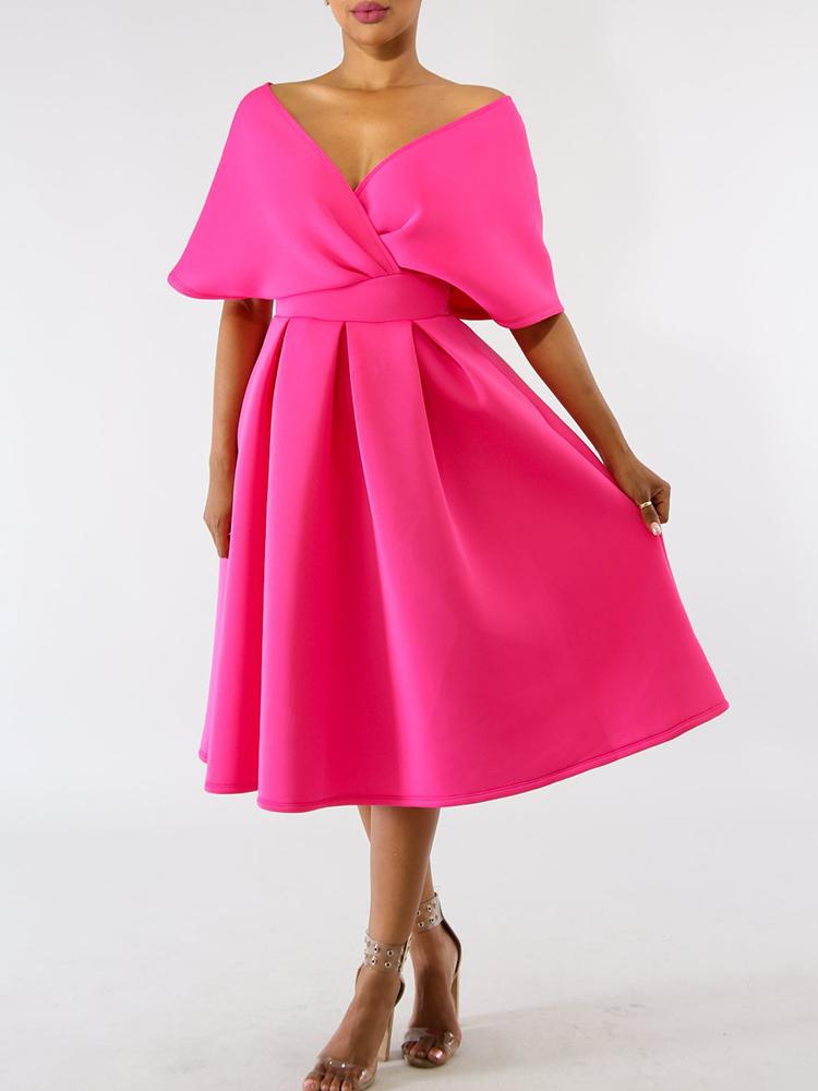 boutiquefeel / Solid Zipper Back Batwing Sleeve Pleated Dress
