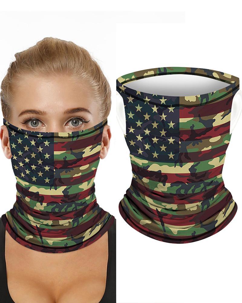 Camouflage Flag Print Breathable Ear Loop FaceBandana Headwrap thumbnail