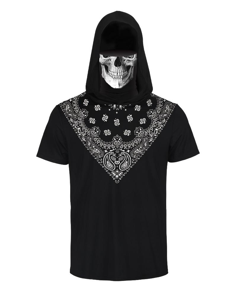 Hooded Casual T-shirt With Ear Loop Face Bandana thumbnail