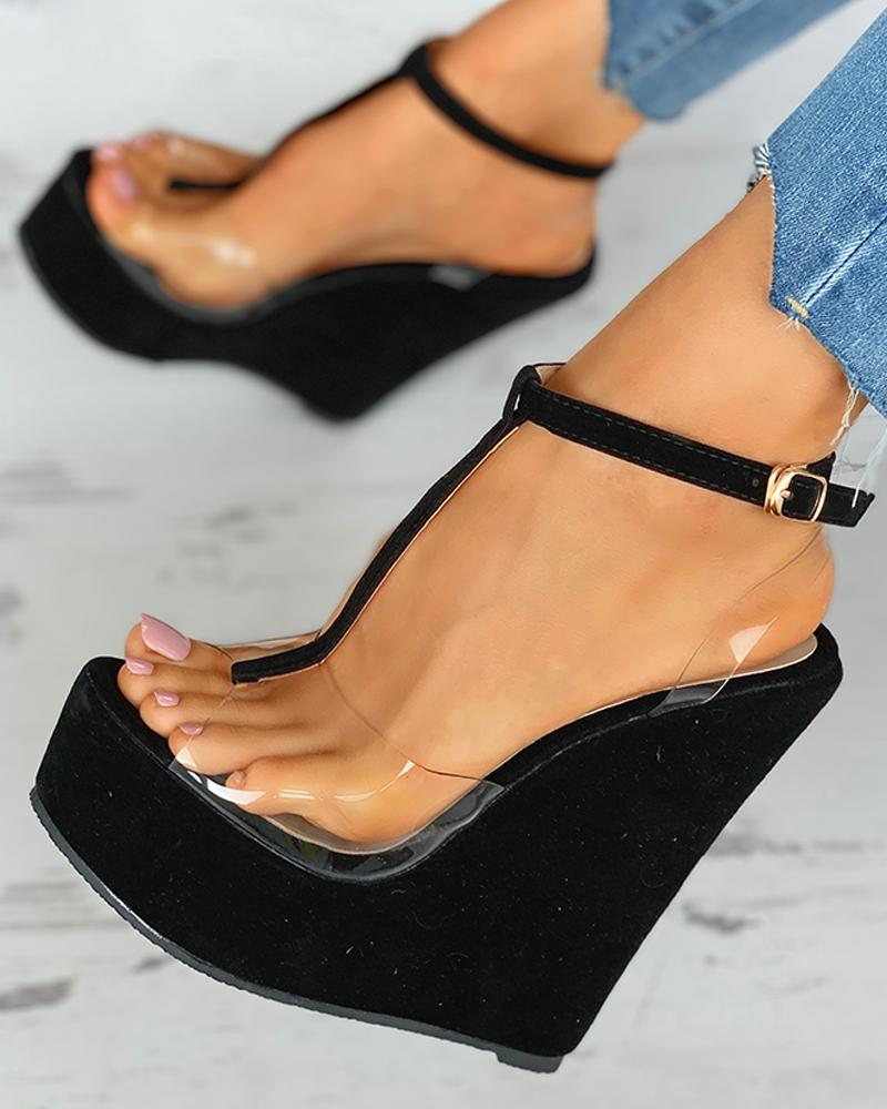 Transparent T-Strap Wedge Platform Heel