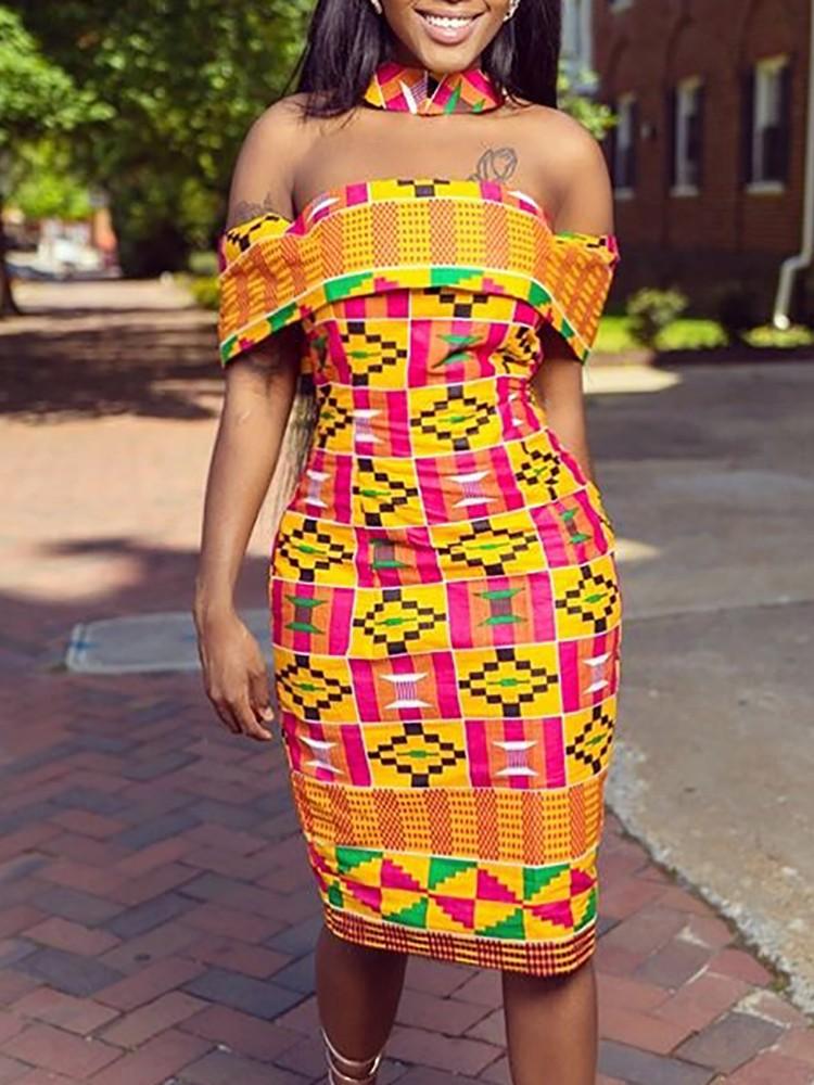 Low Cut Choker Ethnic Print Bodycon Dress