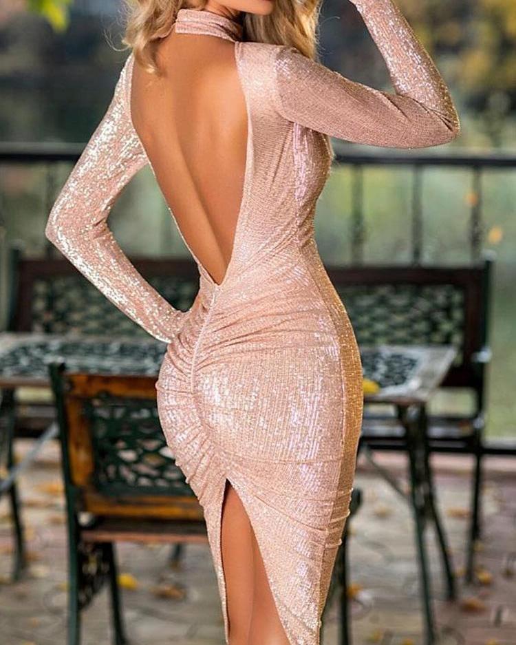 Glitter Open Back Slit Irregular Party Dress thumbnail