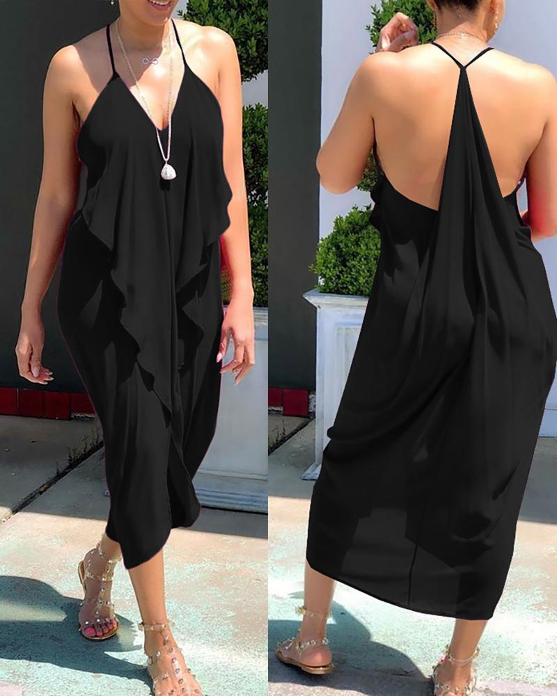 Frill Hem Ruffles Backless Slit Dress thumbnail
