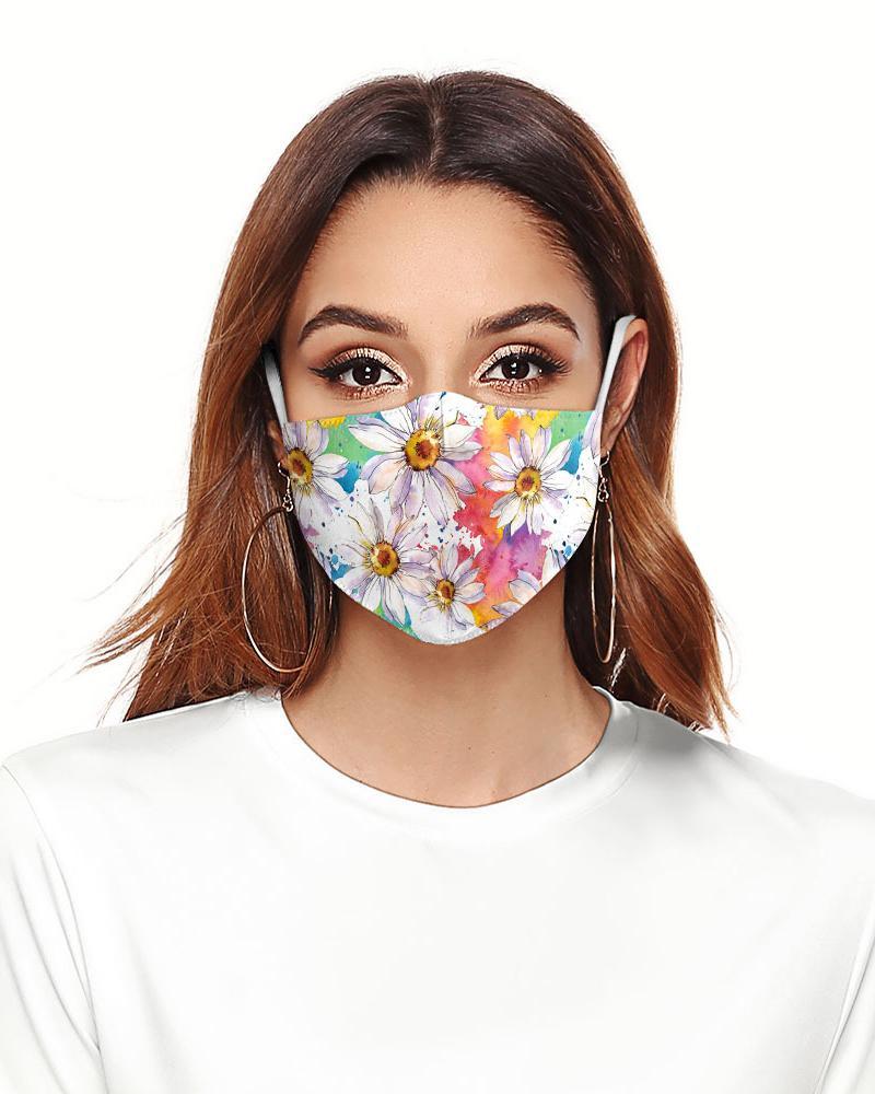 Daisy Floral Print Colorblock Breathable Face Mask thumbnail