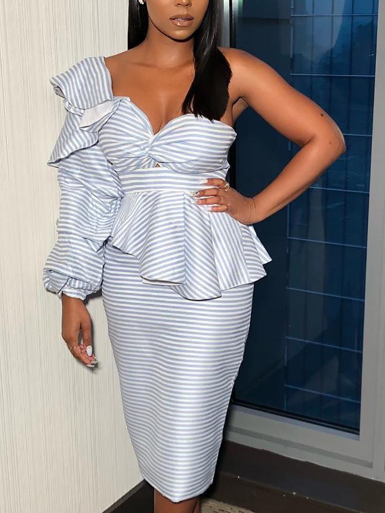 Striped One Shoulder Ruffle Peplum Bodycon Dress