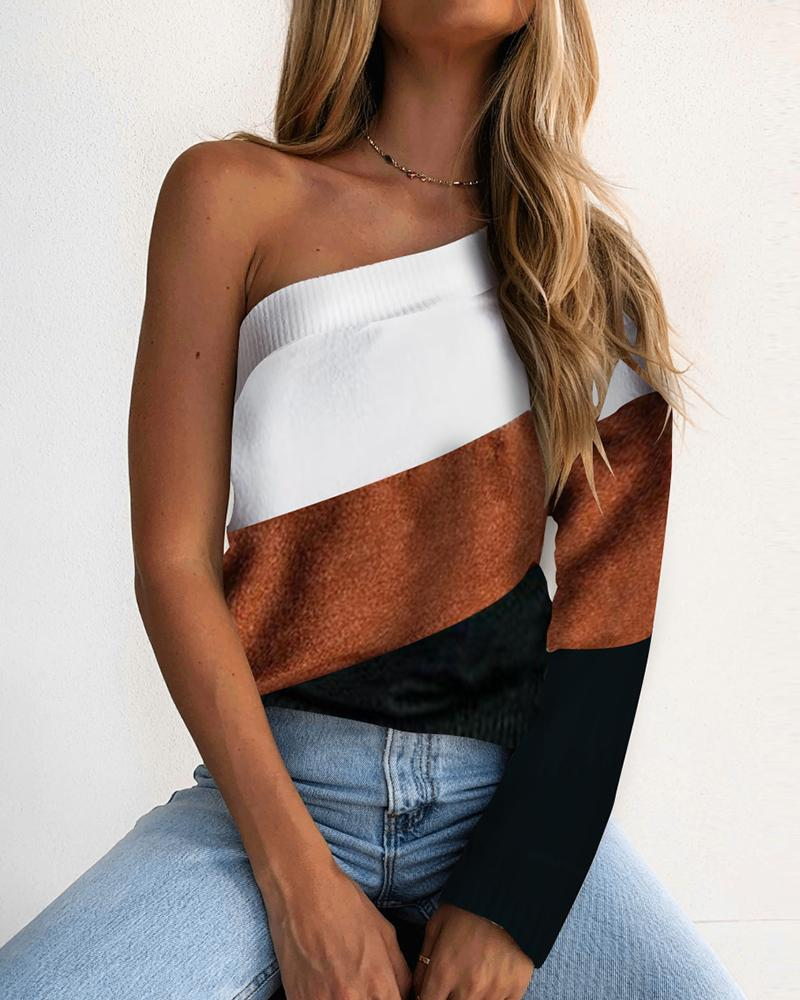 One Shoulder Knit Colorblock Long Sleeve Sweater thumbnail