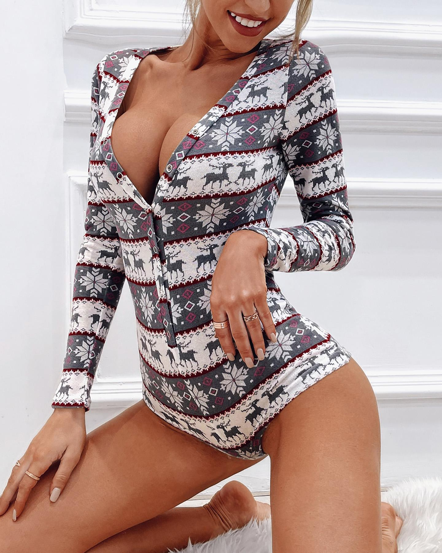 Christmas Plunge Button Long Sleeve Romper