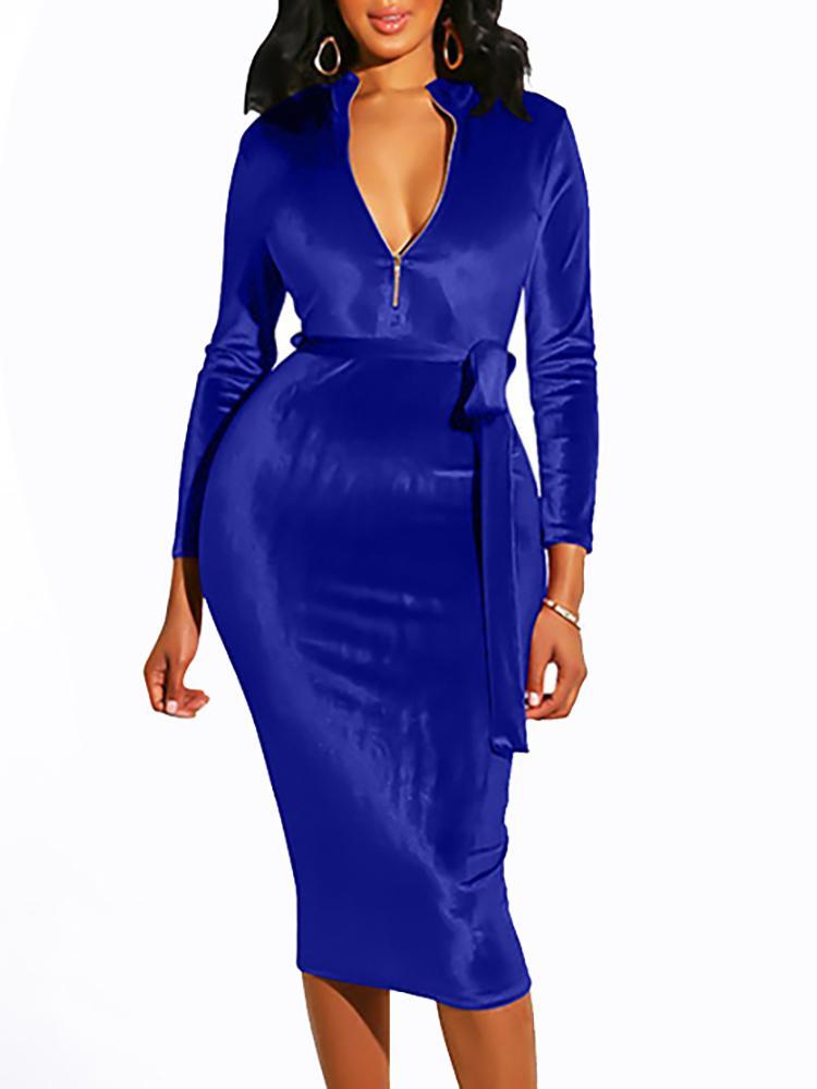 boutiquefeel / Zip Design Belted Velvet Dress