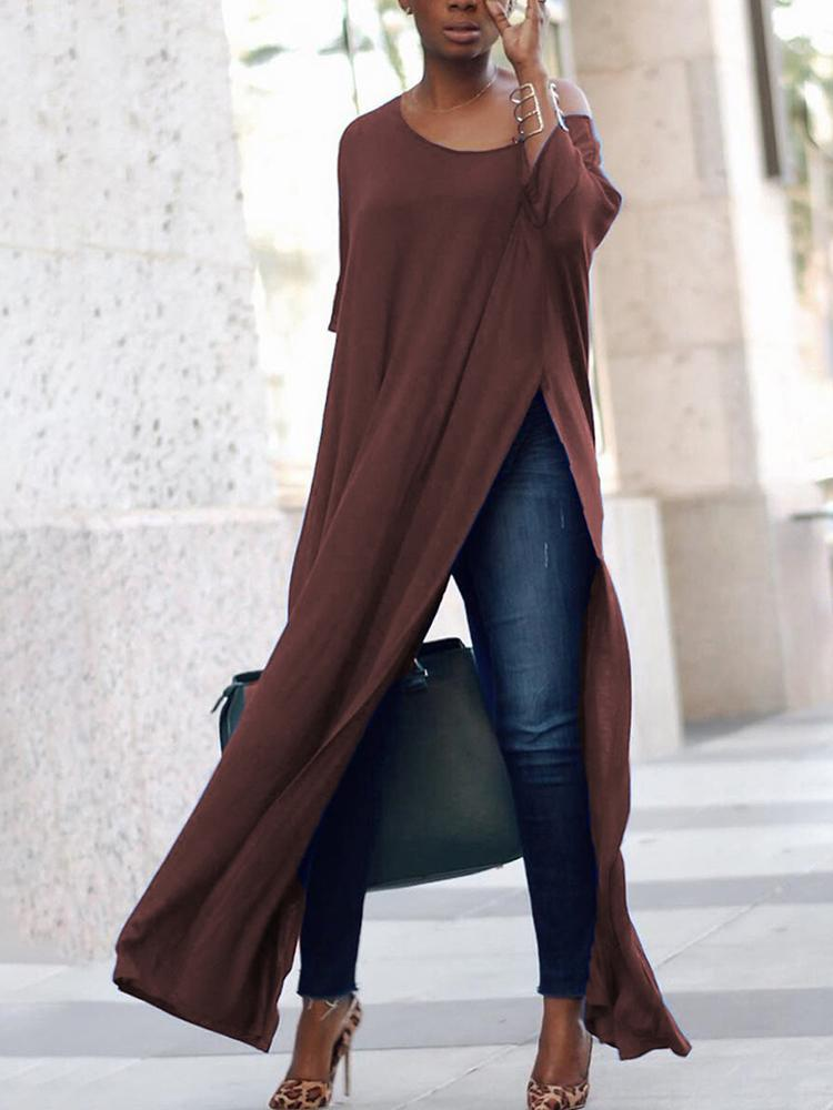 Joyshoetique coupon: Stylish Solid High Slit Casual Blouse - Coffee