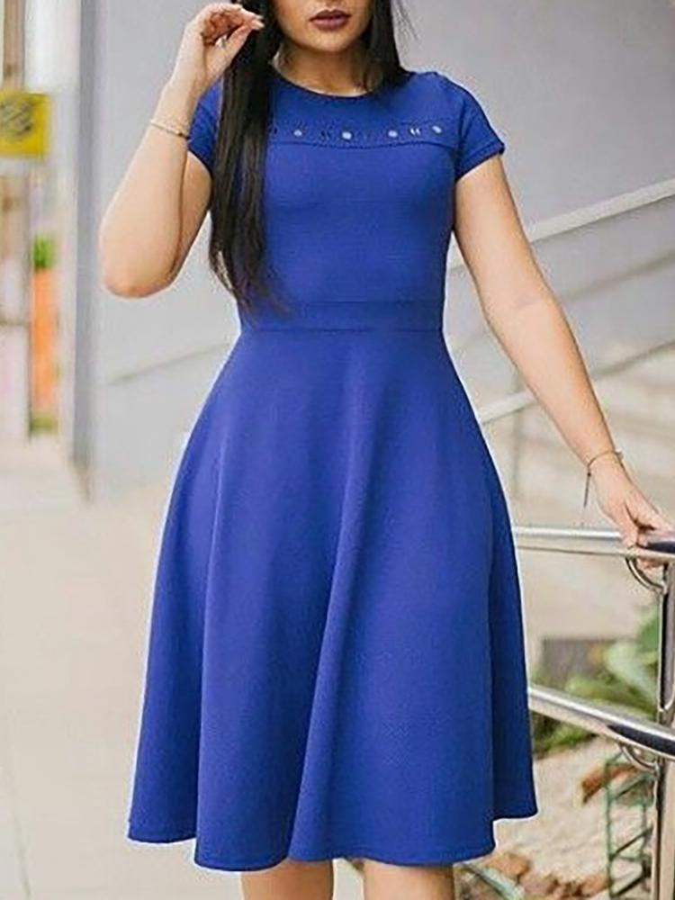 Solid Round Neck Short Sleeve Casual Dress