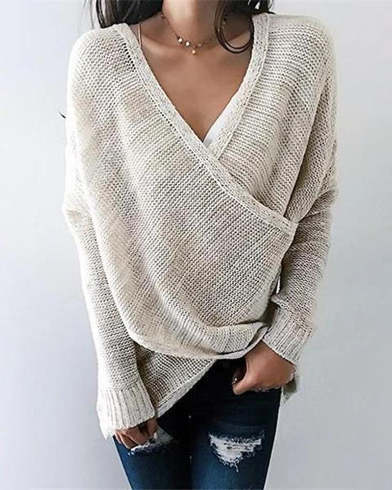 Solid Long Sleeve Casual Sweater thumbnail