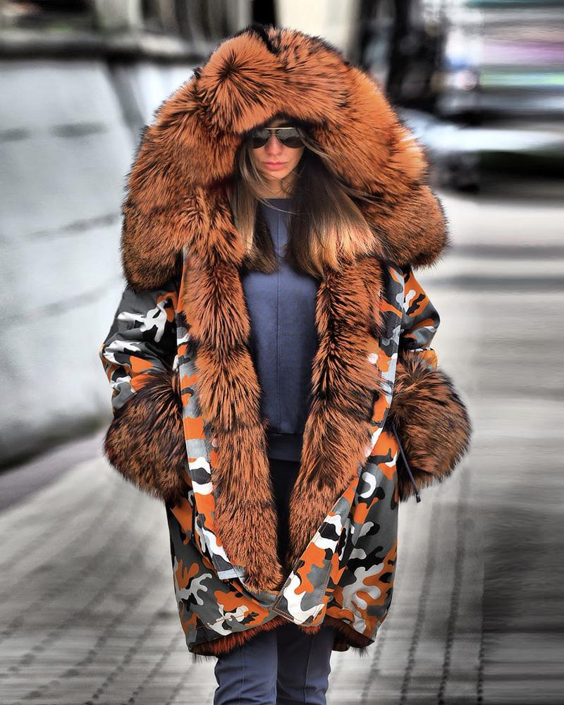 Camouflage Print Faux Fur Hooded Coat