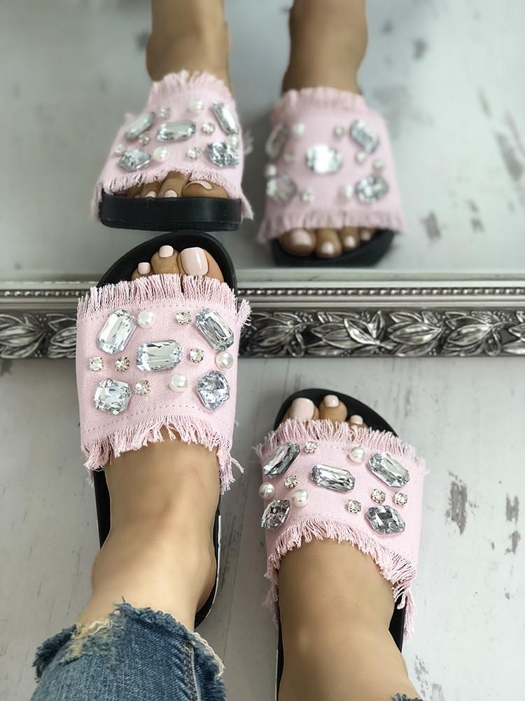 boutiquefeel / Denim Shiny Flat Tassel Non-Slip Slippers