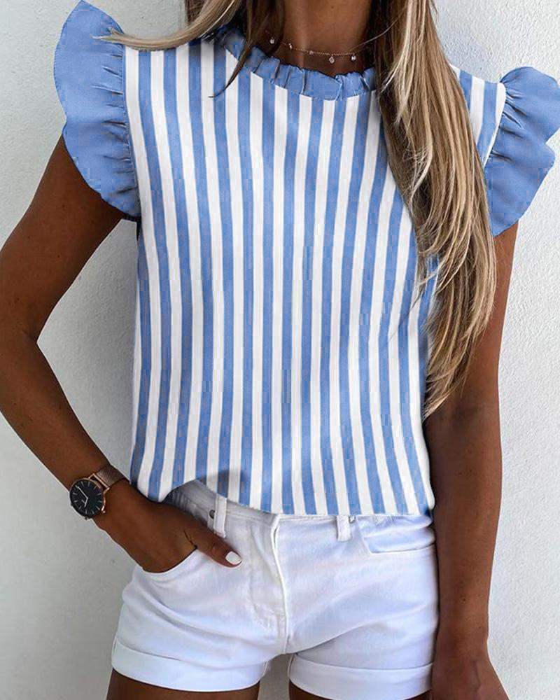 Striped Ruffles Sleeve Casual Top thumbnail