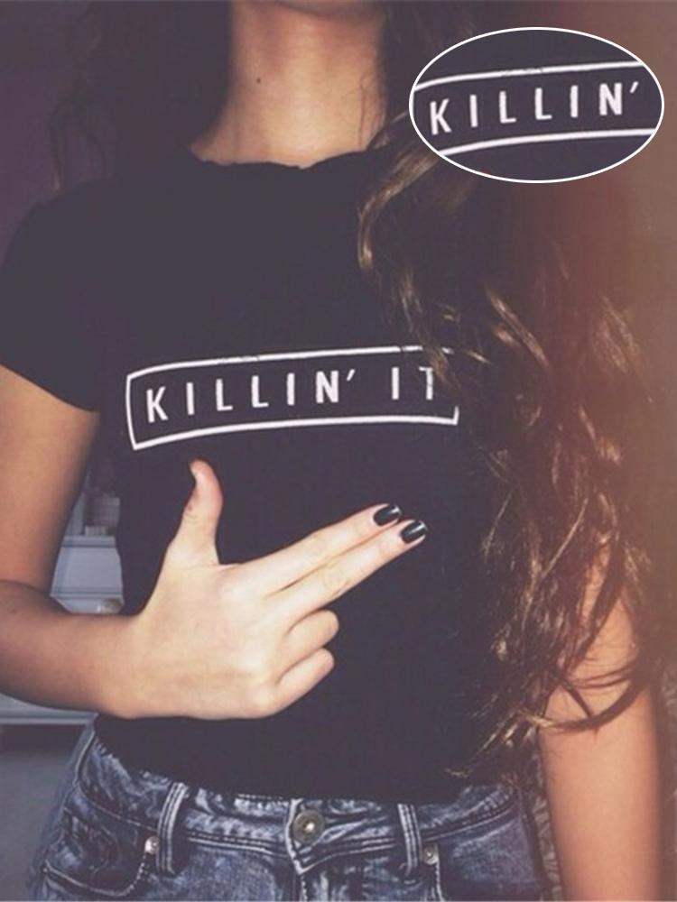 Black Short Sleeve KINNIN' IT Letter T Shirt