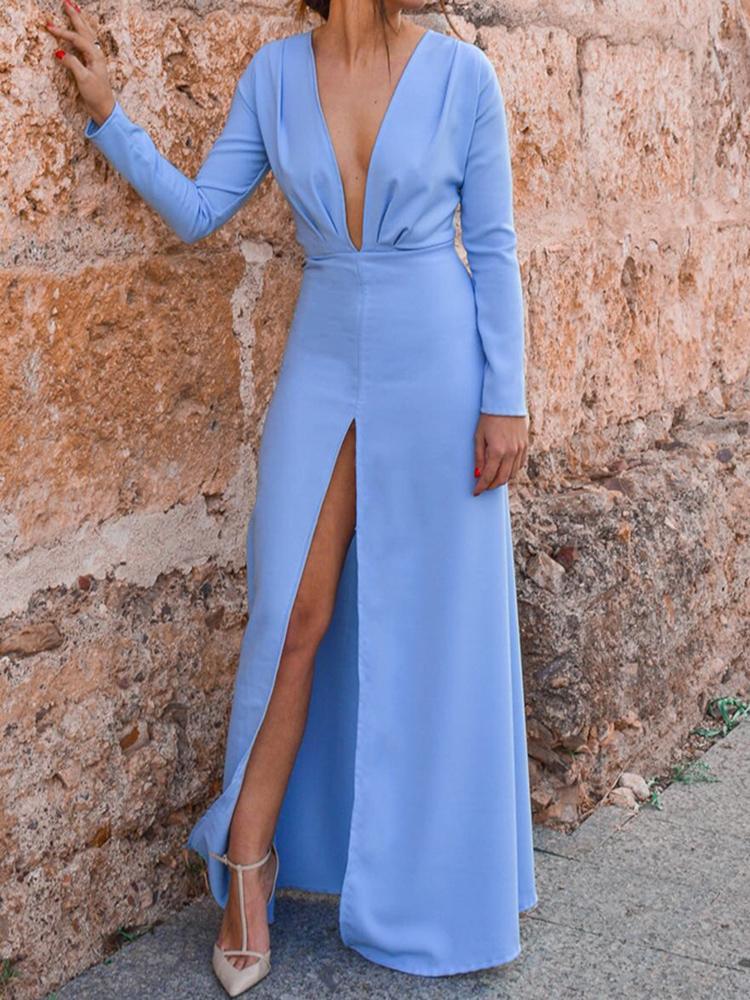 boutiquefeel / Solid Plunge Ruched Slit Maxi Dress