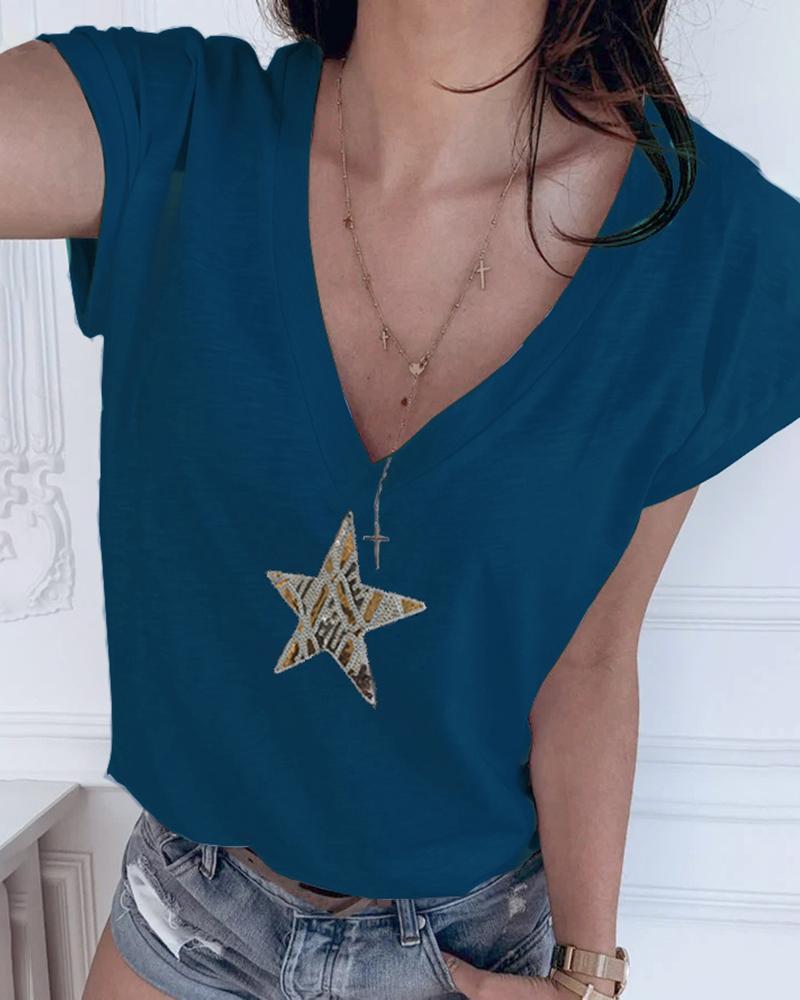 Star Pattern Sequins V-neck T-shirt thumbnail