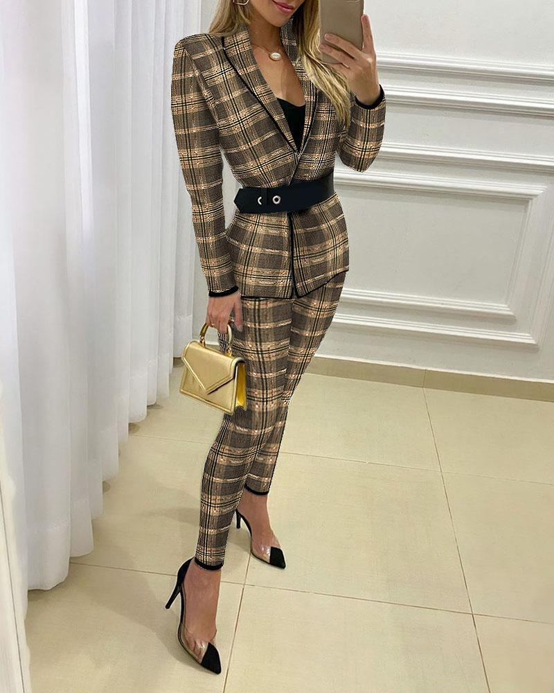 Plaid Print Blazer Coat & Fitted Pants Sets