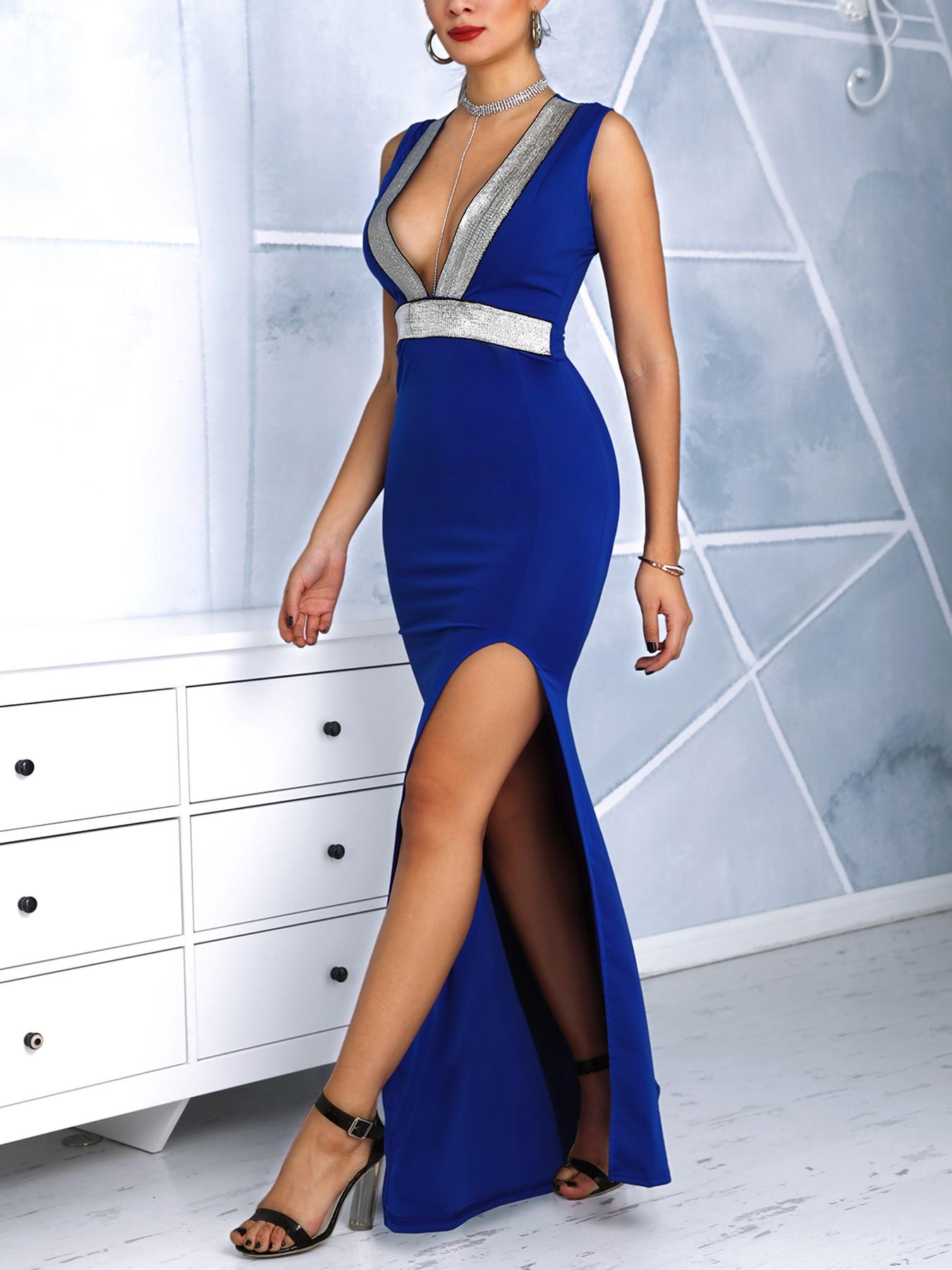 boutiquefeel / Glitter Insert Plunge Thigh Slit Evening Dress