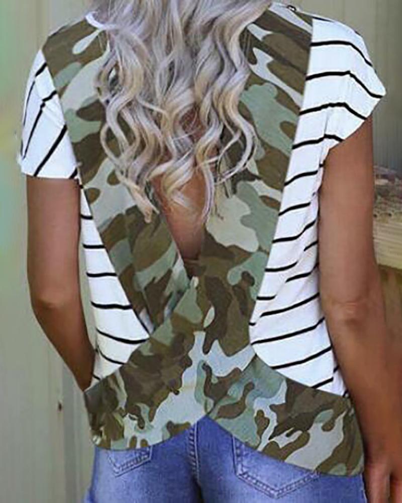 Print Striped Backless Casual T-shirt thumbnail