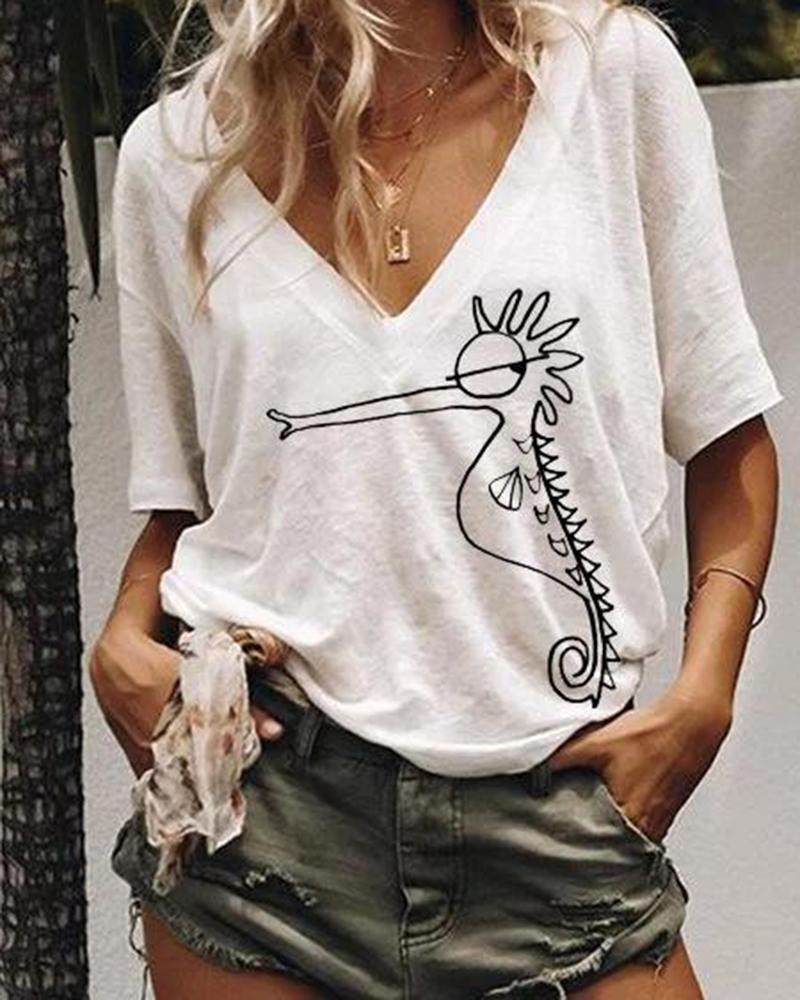 V-neck printed casual short sleeve women's top thumbnail