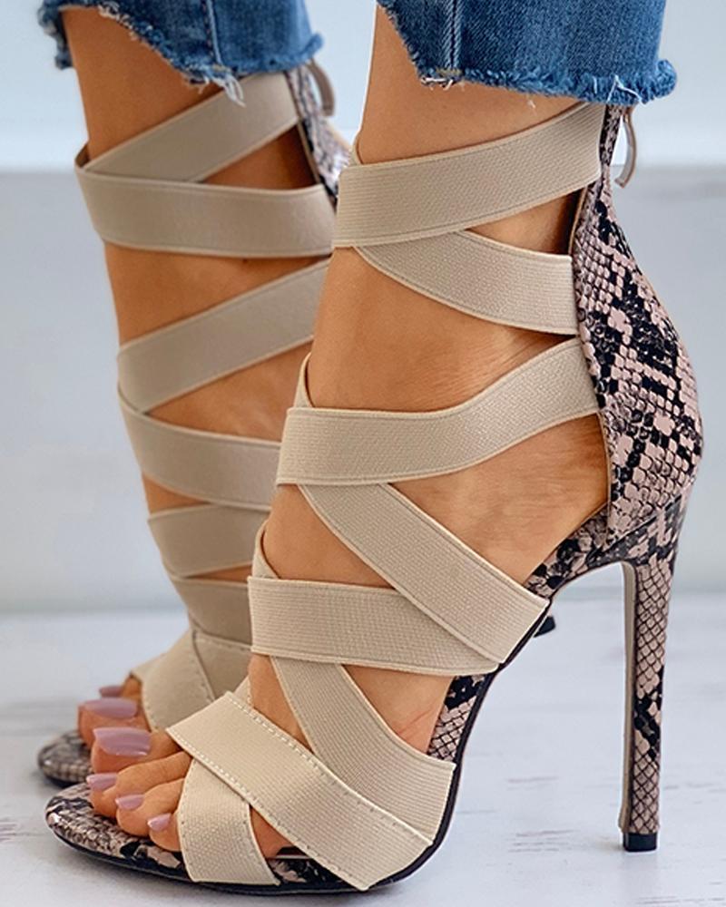 Snakeskin Print Bandage Peep Toe Stiletto Heels thumbnail