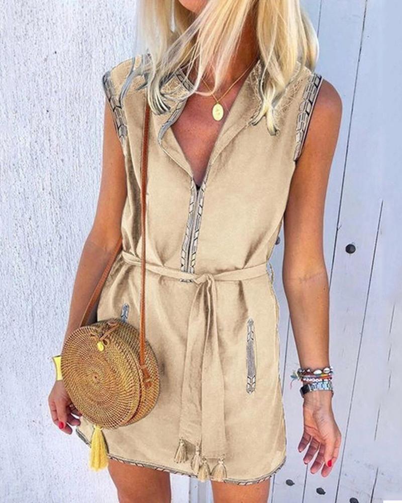 Colorblock Tassel Design Sleeveless Dress thumbnail