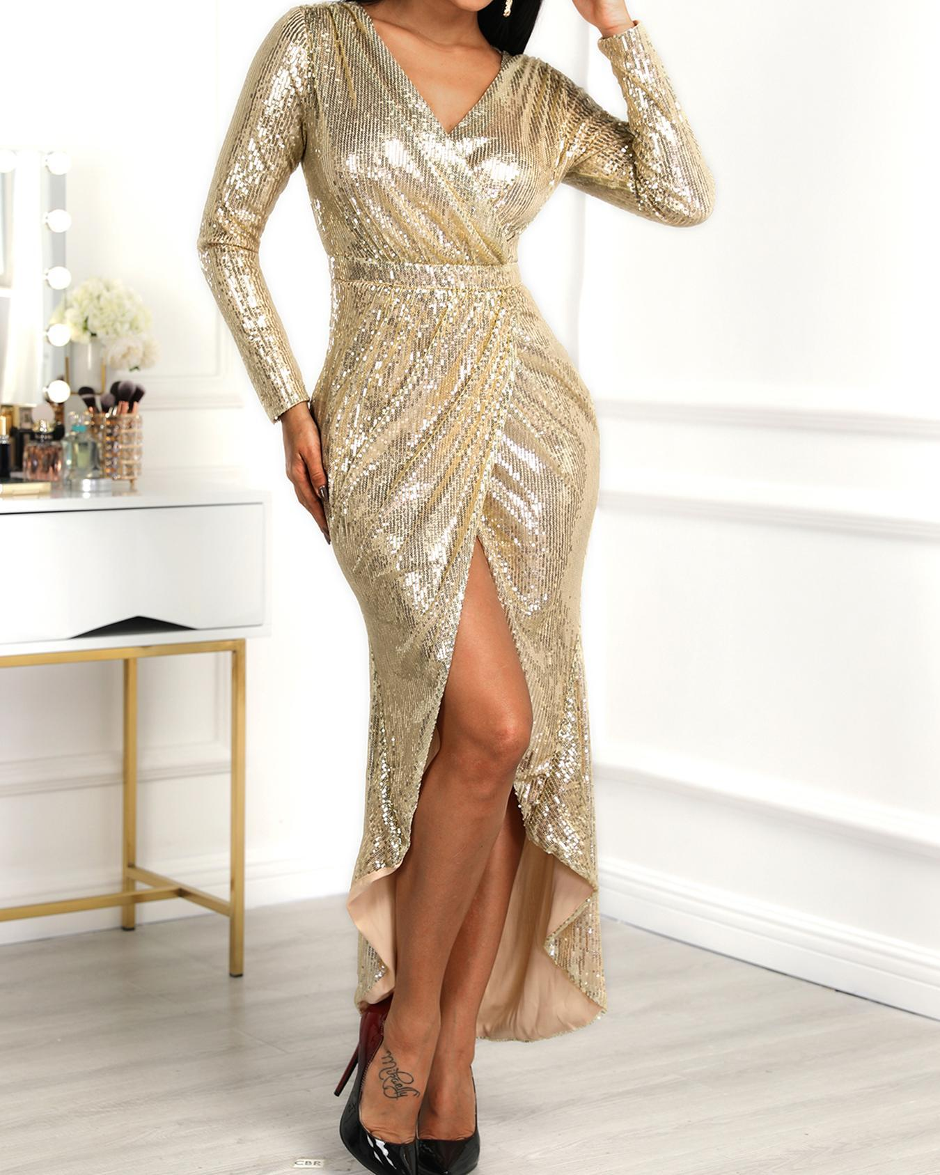 e6a314b7a6e Wrap Ruched Irregular Sequin Party Dresses Online. Discover hottest trend  fashion at chicme.com